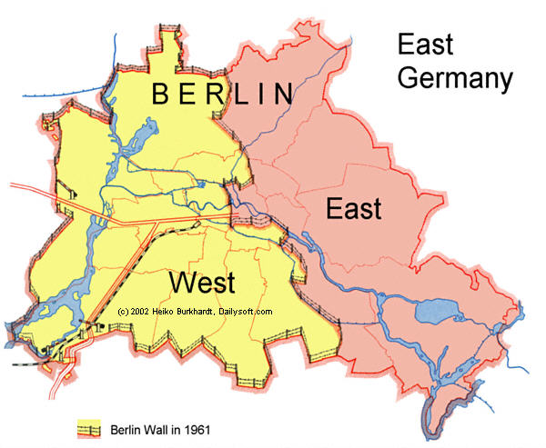 The Berlin Wall Pictures Graphs Maps - Map of divided berlin